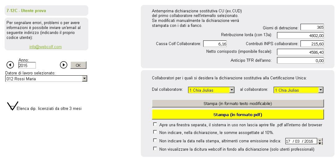 Dichiarazione sostitutiva CU - WebColf